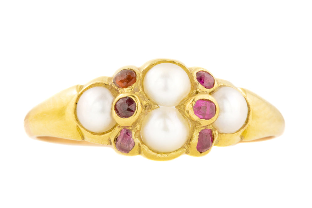 Victorian Gold Pearl Ruby Ring