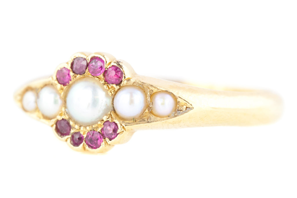 Victorian Pearl and Ruby Ring