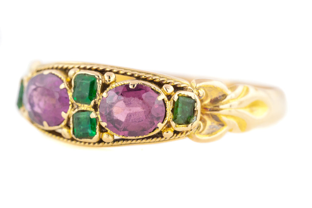 Victorian Garnet and Emerald Ring c.1871