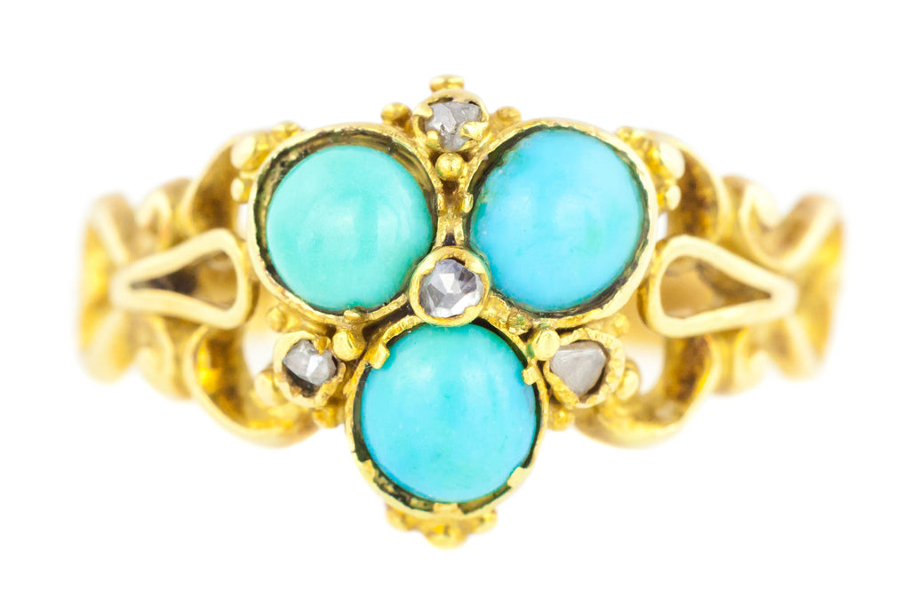Antique 18ct Yellow Gold Ring with Turquoise Trilogy and Diamonds