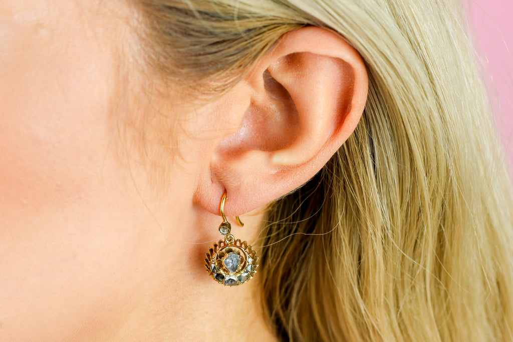 18ct Gold Victorian Rose Cut Diamond Cluster Earrings c.1880