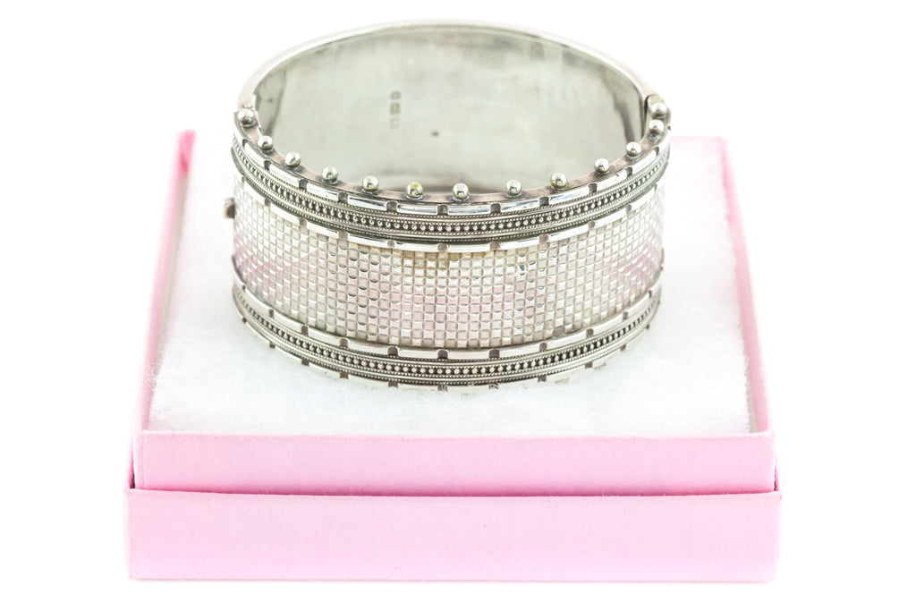 Victorian Sterling Silver Bangle with Beaded Edge