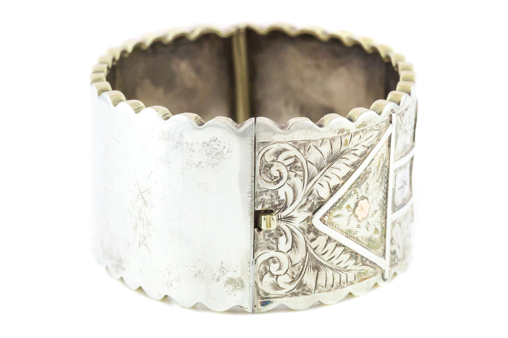 Wide Silver Victorian Bangle with Scalloped Edge