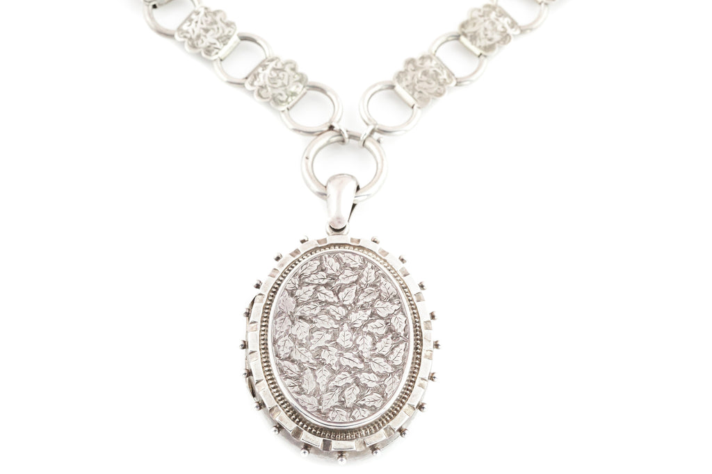 Victorian Silver Book Chain Necklace with Large Oval Locket c.1882