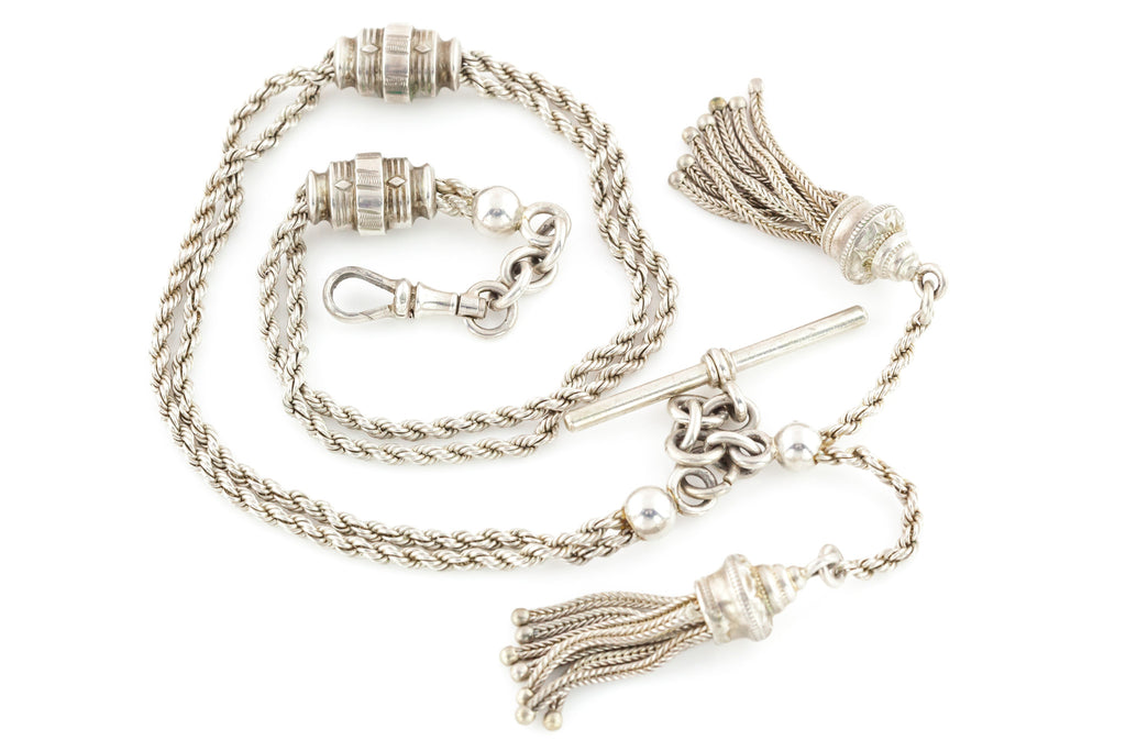 Fine Antique Silver Albertina Chain with Tassels and T-bar c.1880