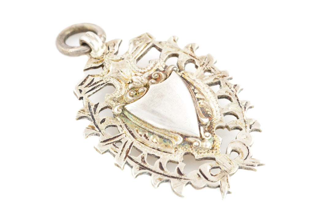 Edwardian Silver & Gold Heavy Shield Fob Pendant, with Chain c.1910