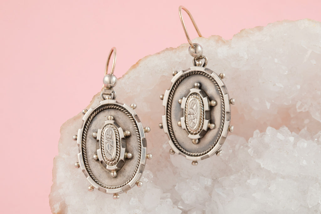 Large Victorian Silver Earrings with Beaded Edges c.1881