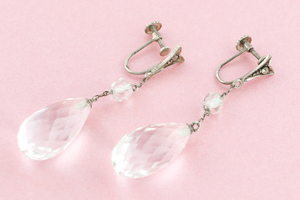Early 20th Century Rock Crystal Drop Earrings c.1910