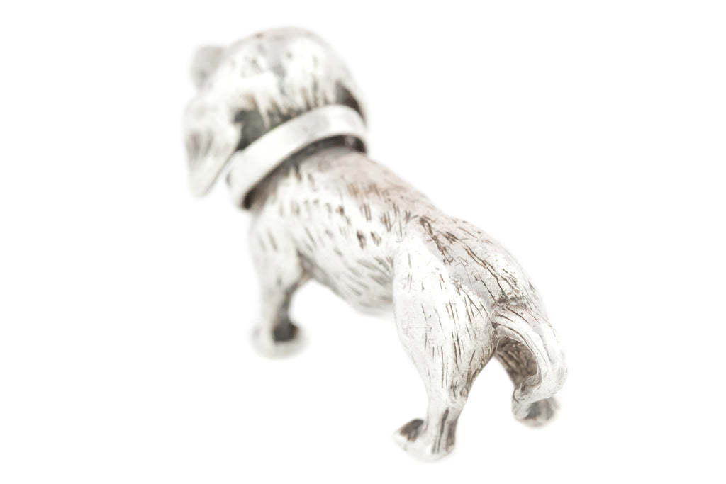 Charming Vintage Silver Daschund Charm Pendant and Chain
