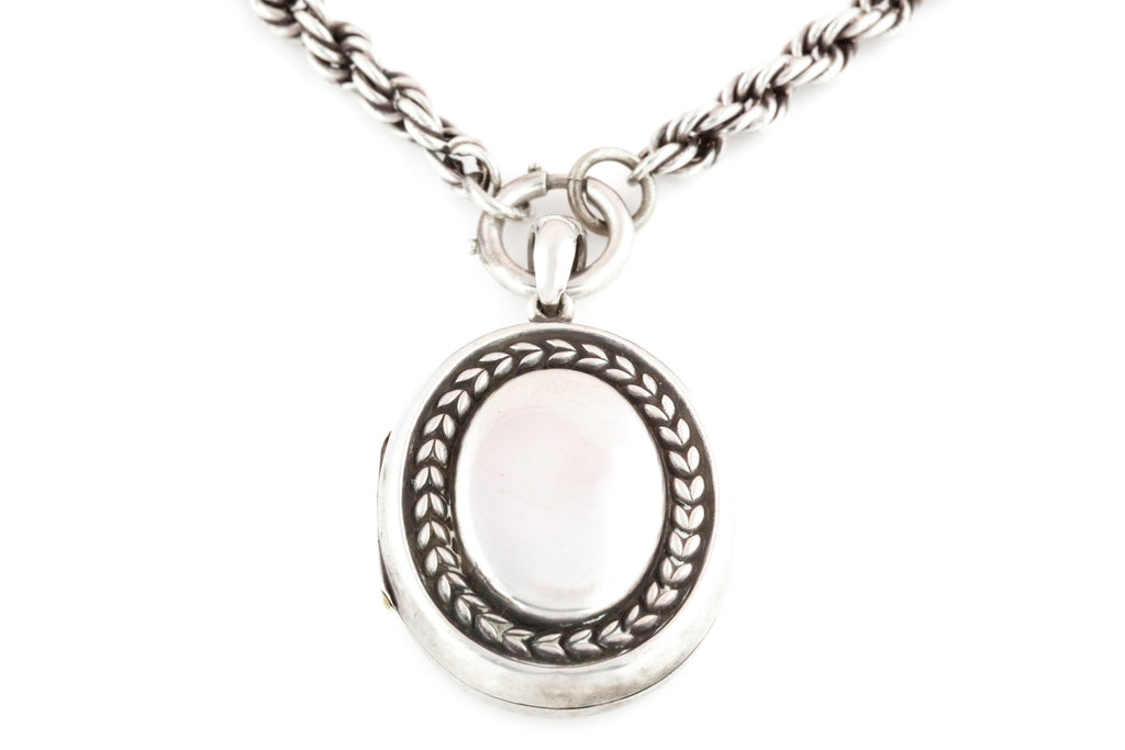 Silver Oval Locket with Prince of Wales Chain c.1900s