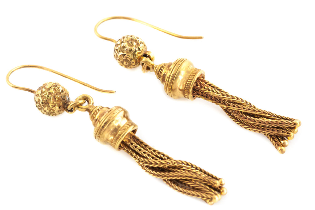 Exquisite Antique 9ct Gold Tassel Earrings c.1890