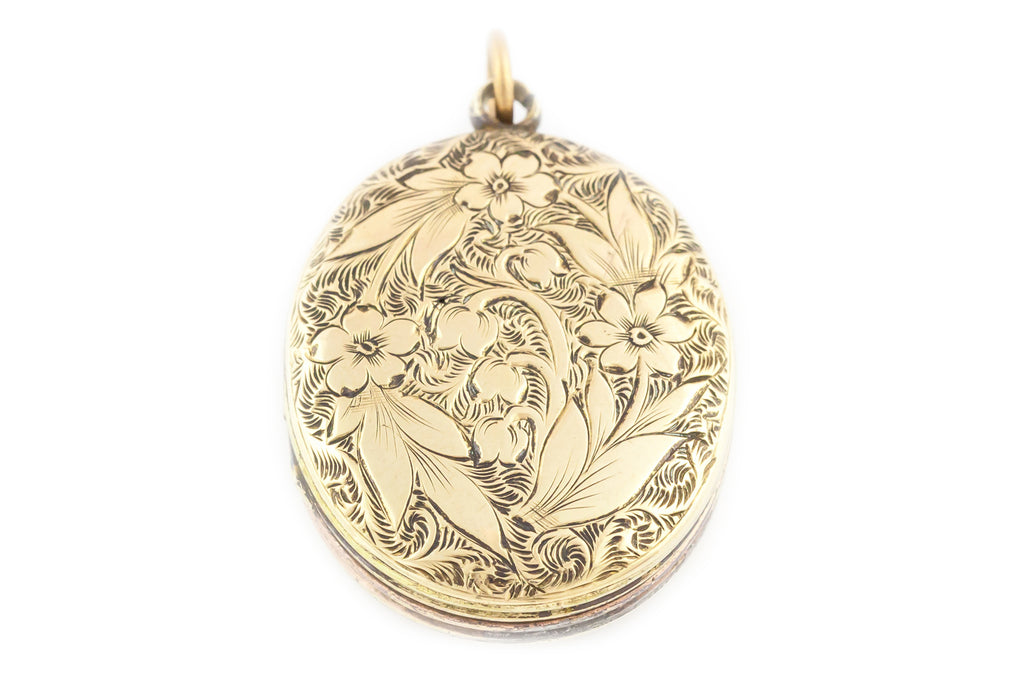 Small Victorian Locket 9ct Gold Back and Front