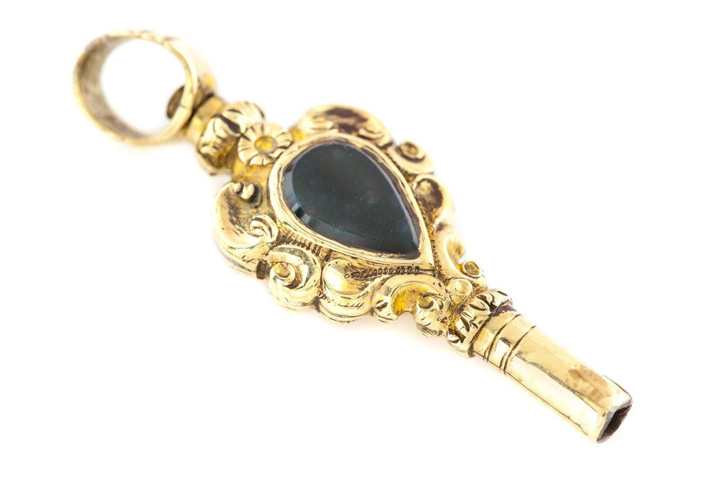 9ct Gold Watch Key fob pendant with Bloodstone and Citrine