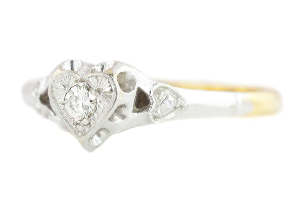 18ct Gold Art Deco Heart Engagement Ring c.1920