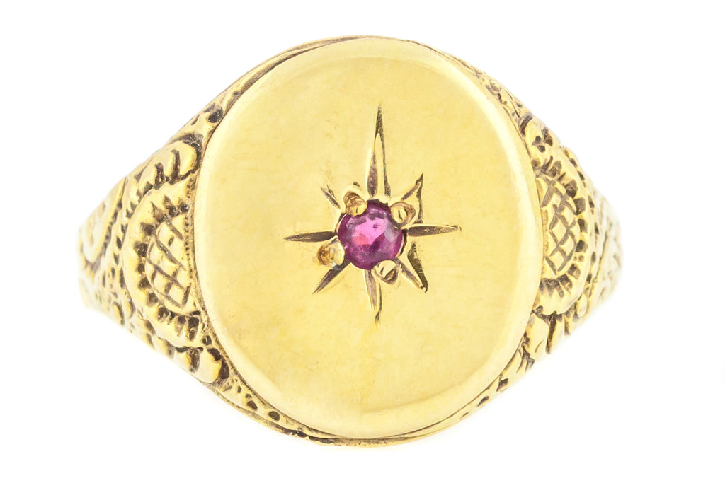 18ct Gold Victorian Ruby Signet Ring with Chased Shoulders