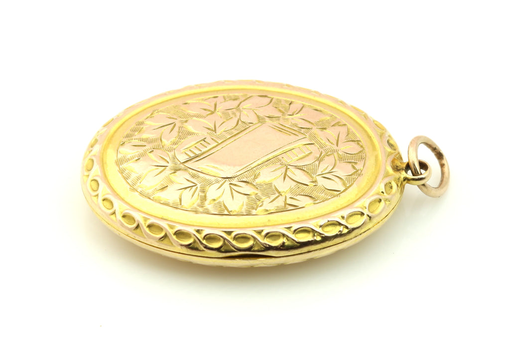 Antique 9ct Gold Oval Locket with Pretty Engravings c.1915