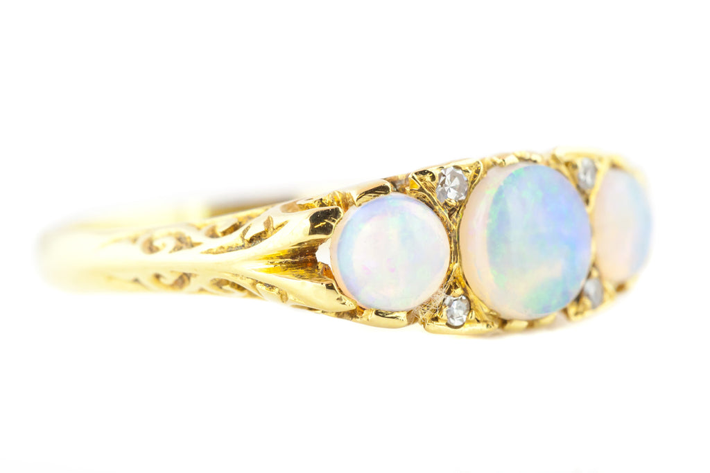 18ct Gold Antique Opal Ring with Scrolled Gallery