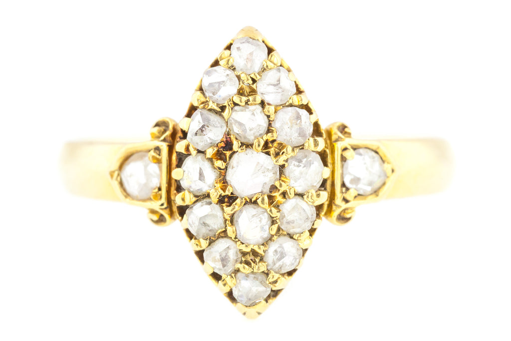 Antique Navette Diamond Ring c.1893 - 18ct Gold Rose Cut Diamond Ring