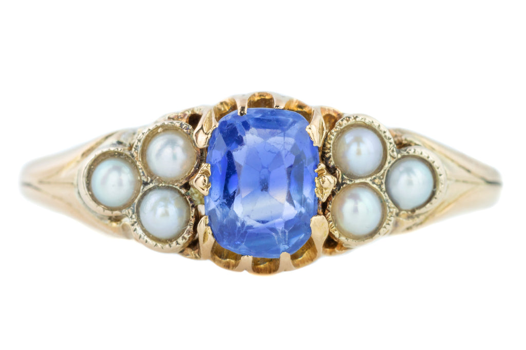 Antique Sapphire and Pearl Trefoil 15ct Gold Ring (1.12ct)