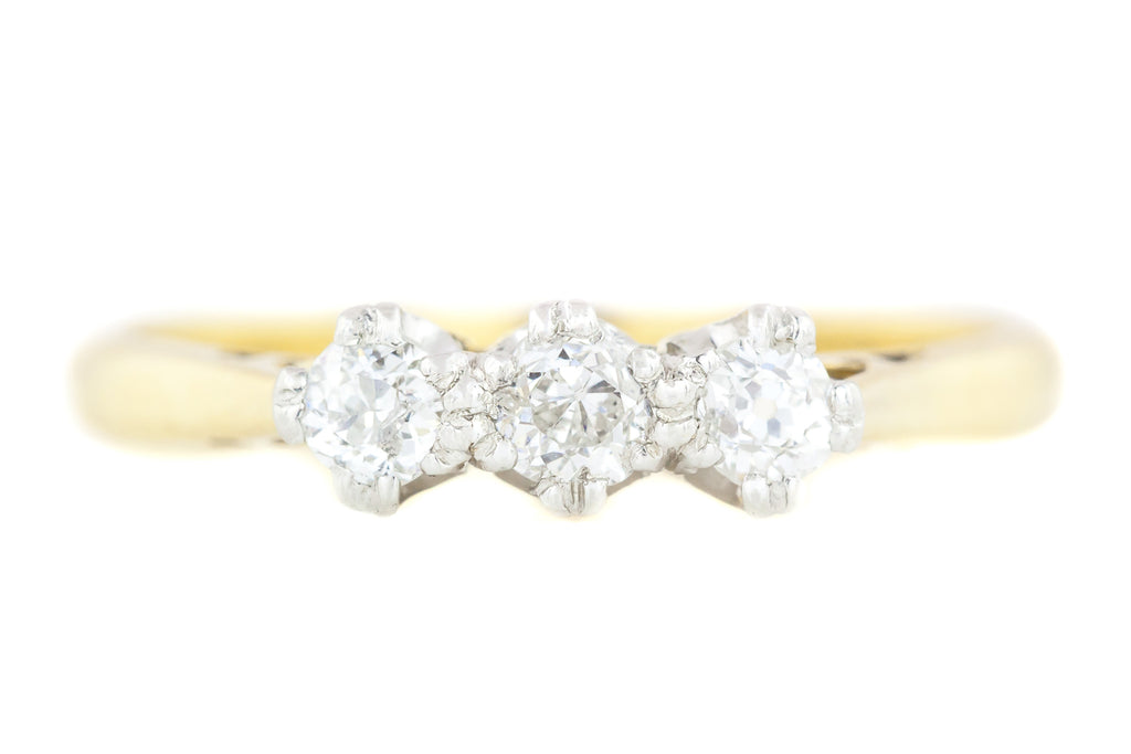18ct Gold Art Deco Diamond Trilogy Engagement Ring (0.25ct)