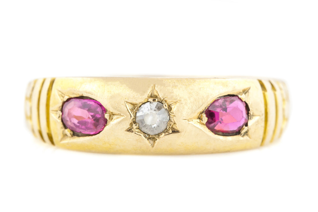 15ct Gold Georgian Diamond and Ruby Ring c.1829