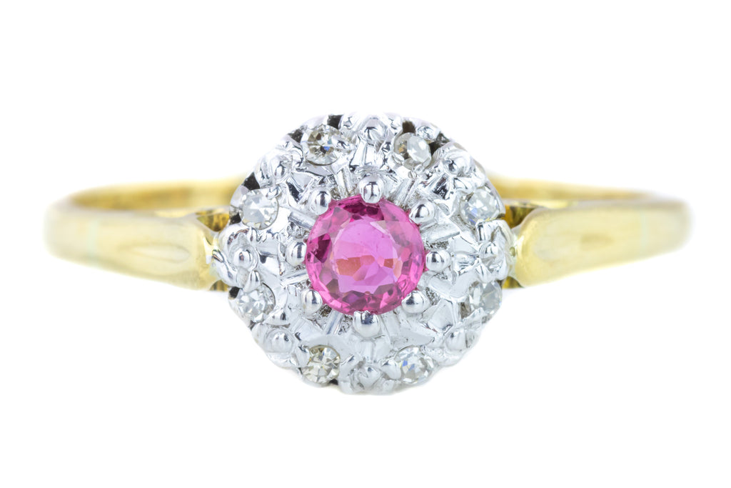 Art Deco Ruby and Diamond Cluster Ring c.1930