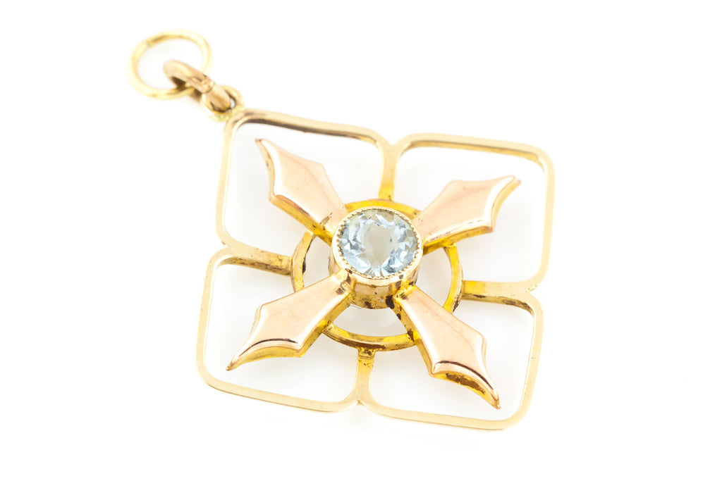 Beautiful 18ct Gold Antique Aquamarine Pendant