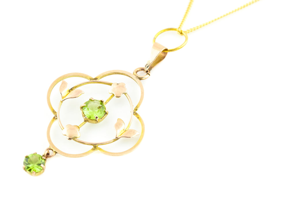 Art Nouveau 9ct Gold Peridot Drop Pendant