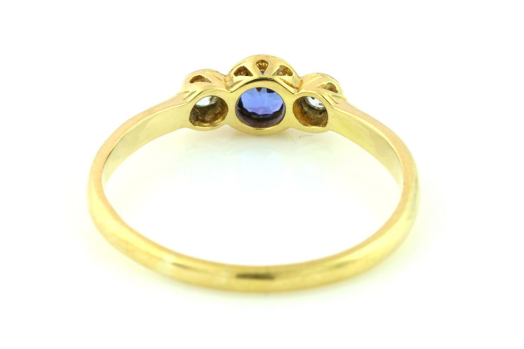 Art Deco 18ct Gold Sapphire Diamond Trilogy Ring c.1920