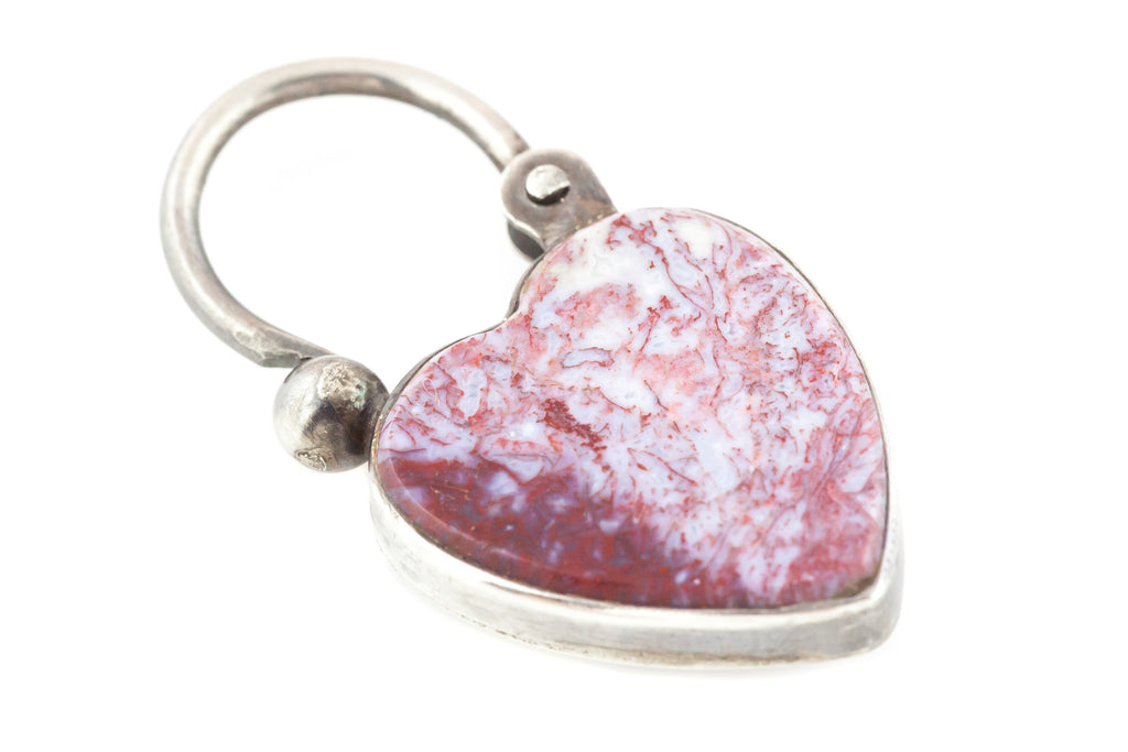 Antique Silver Scottish Agate Heart Padlock Charm Pendant