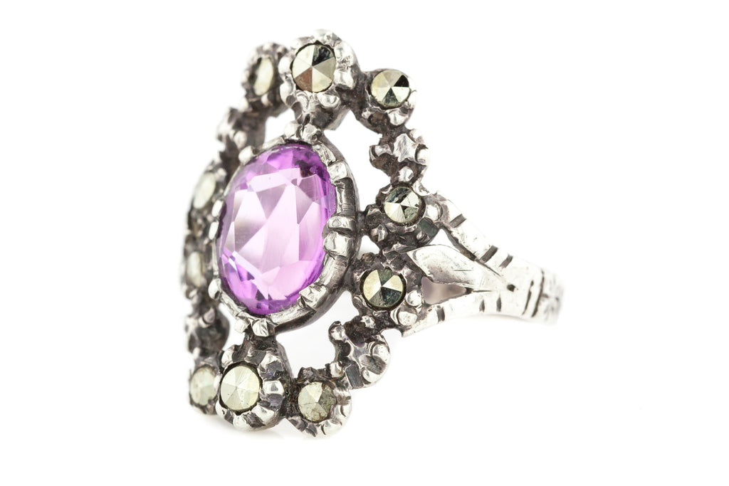 Antique Austro-Hungarian Amethyst and Marcasite Silver Ring