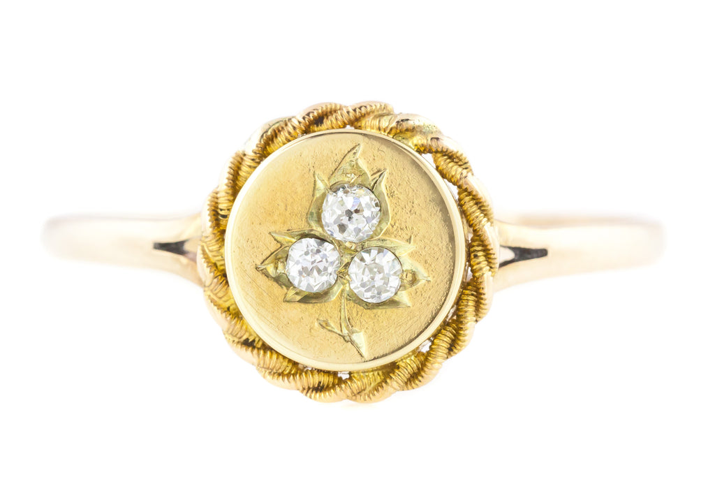 9ct Gold Victorian Diamond Ring - Antique Etruscan Revival Diamond Trefoil Ring
