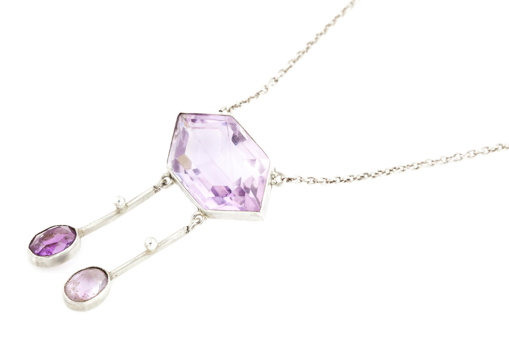 Edwardian Silver Amethyst Necklace - Antique Amethyst Necklace c.1900