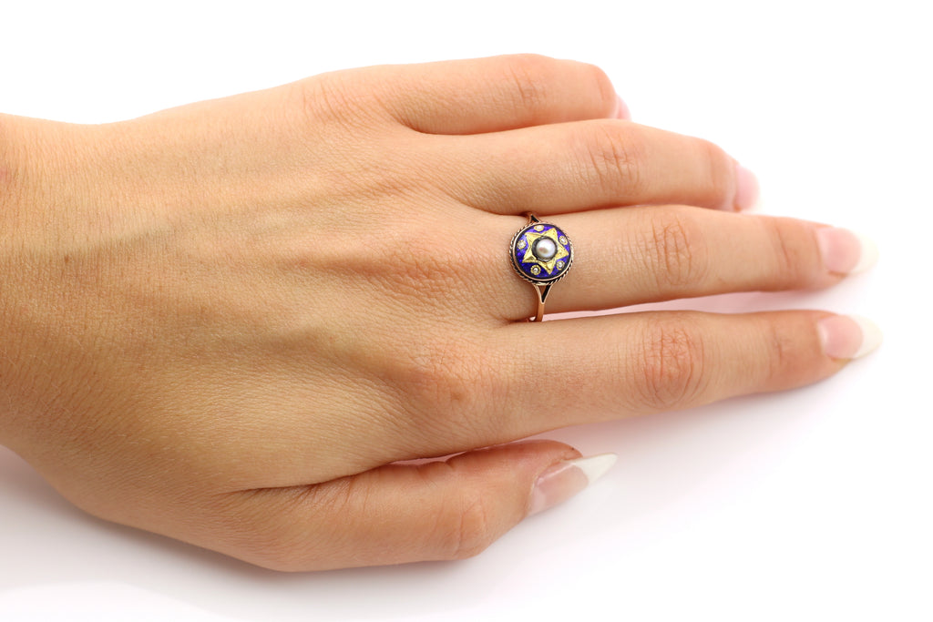 Antique 9ct Gold Blue Enamel Ring - Victorian Enamel and Pearl Ring