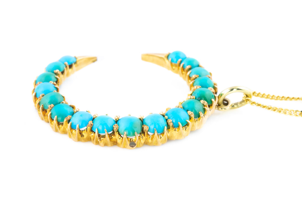 Antique 18ct Gold and Turquoise Crescent Moon Necklace
