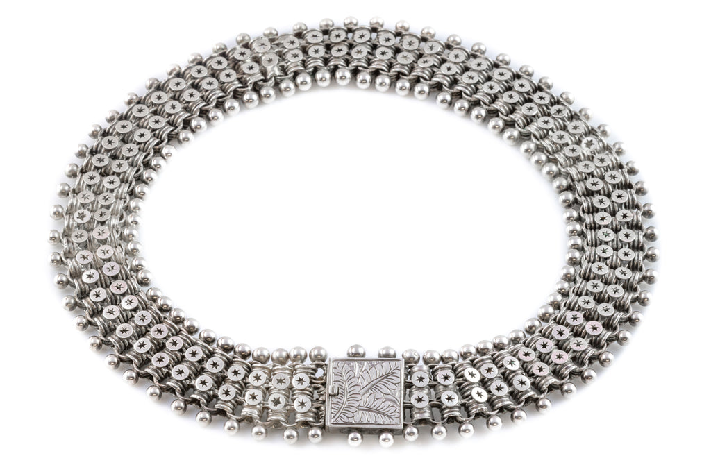 Victorian Aesthetic Silver Book Chain Collar Necklace c.1880