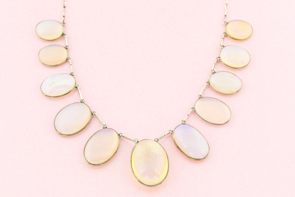 Edwardian Moonstone Necklace - Rainbow Moonstone Fringe Necklace c.1901