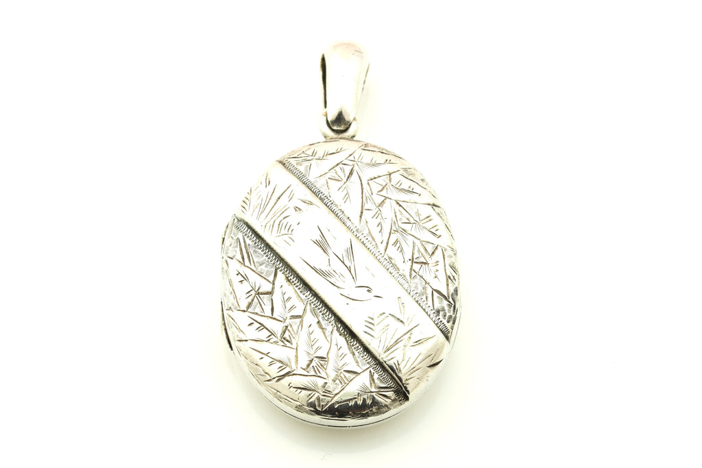 Victorian Aesthetic Silver Locket with Sweet  Bird in Flight c.1880