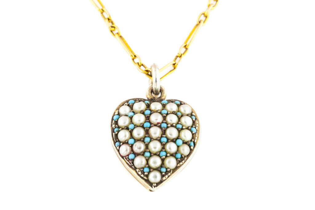 Antique Turquoise and Pearl 9ct Gold and Silver Heart Pendent with 9ct Gold Chain