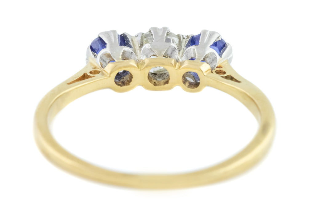 Art Deco Diamond and Sapphire Trilogy Ring