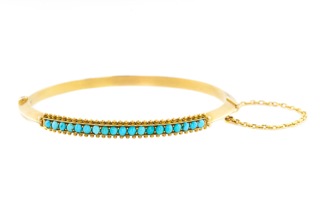 15ct Gold Antique Turquoise Bangle c.1880