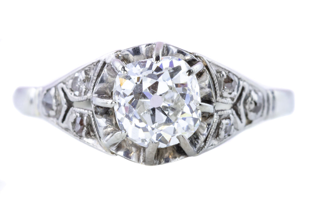 Superb Art Deco Diamond Solitaire Ring (0.87ct)