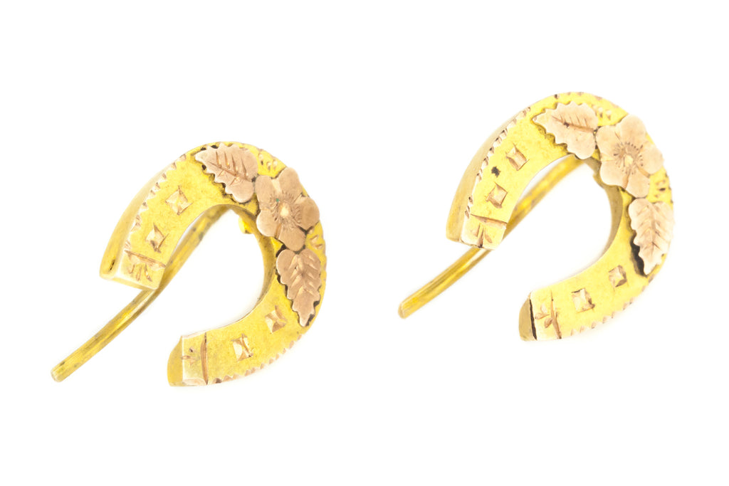 9ct Gold Antique Horseshoe Earrings c.1891