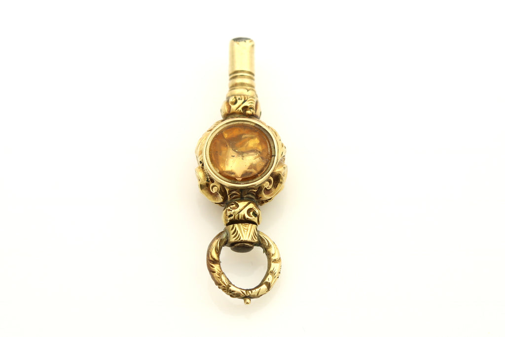 Antique 9ct Gold Fob Pendant with Amethyst and Citrine