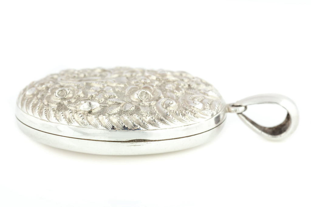 Large Victorian Silver Locket with Embossed Floral Pattern