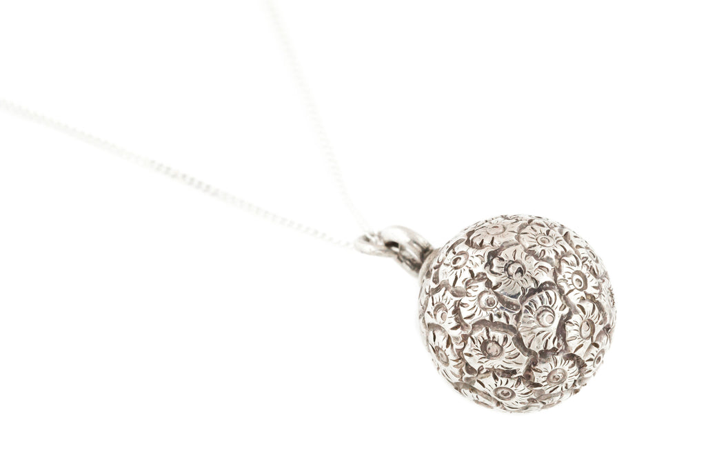 Antique French Silver Sphere Charm Pendant , with Chain c.1885