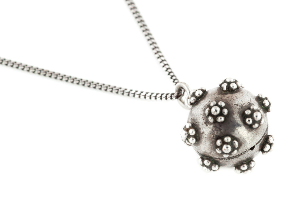 Victorian Silver Sphere Pendant with Beaded Flowers