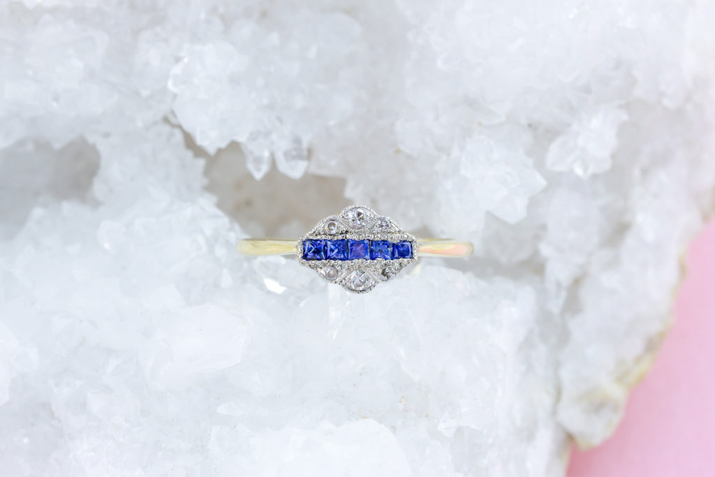 18ct Gold Art Deco Sapphire and Diamond Engagement Ring