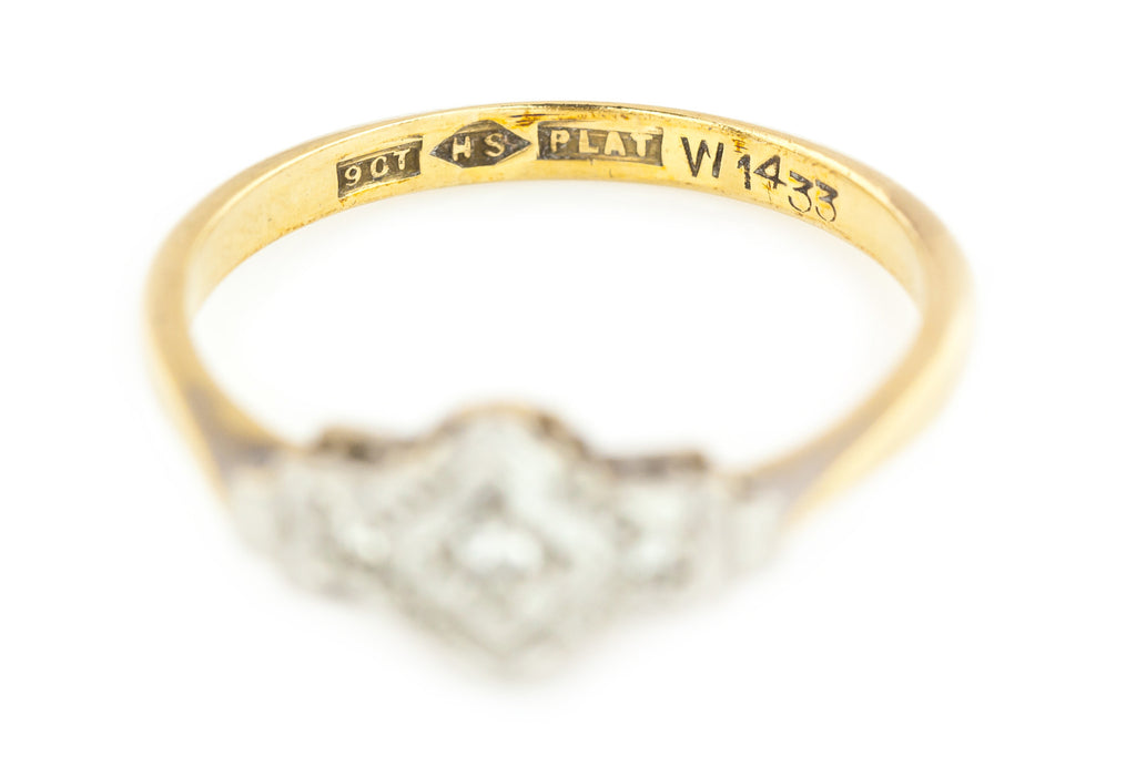 Art Deco Trilogy Ring c.1920 - 9ct Gold Art Deco Diamond Ring
