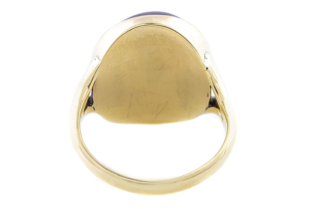 Victorian 9ct Gold Ring with Large Garnet Cabochon